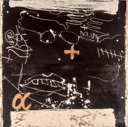 Antoni Tàpies. Cara i mans sobre negre