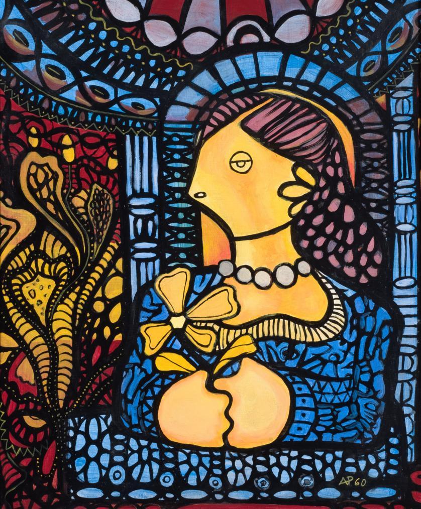 Amelia Peláez del Casal. Joven con flor