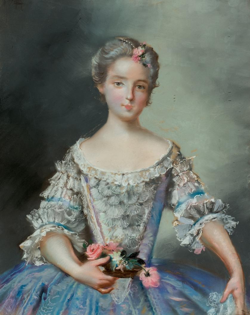Escuela Francesa Antigua. Dama con flores