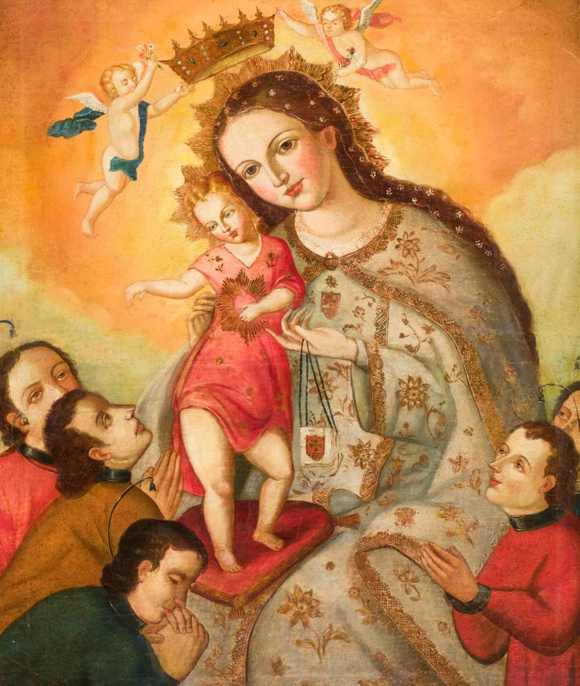 Escuela Colonial S. XVIII. Virgen con Niño