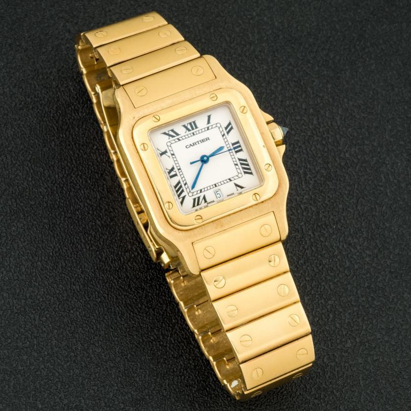 Reloj Cartier Santos Galbee de oro 33 mm