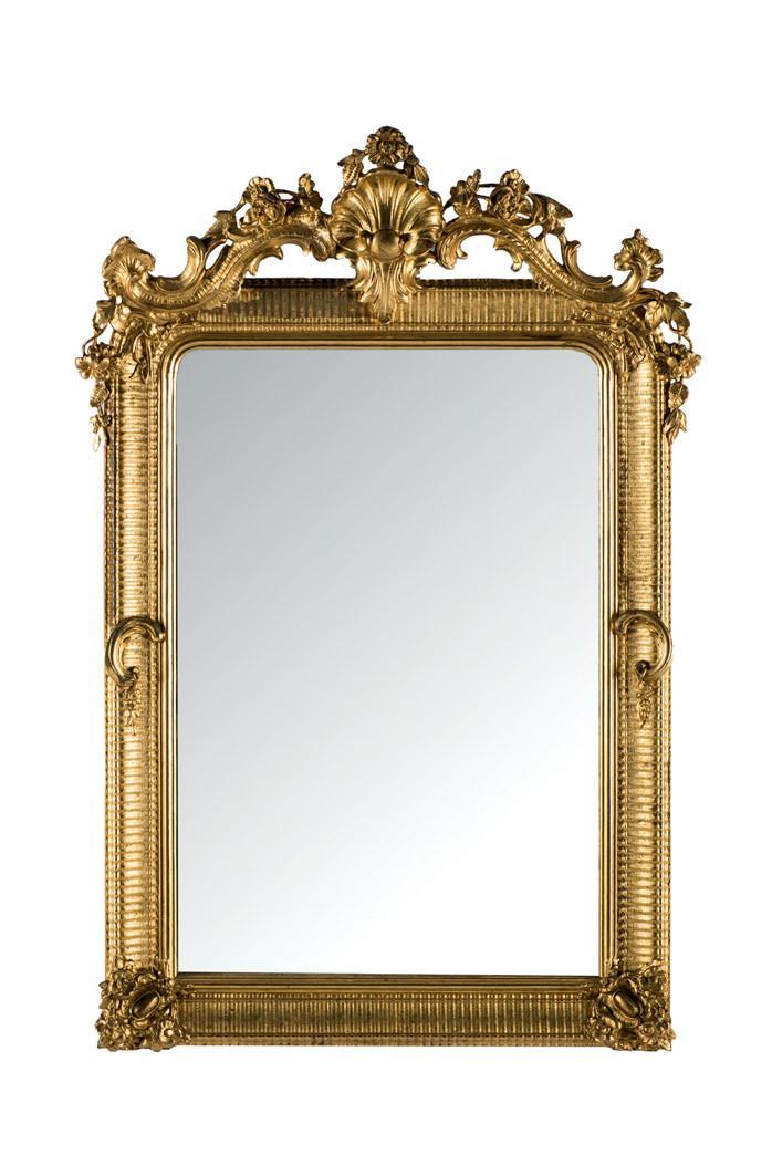 Espejo isabelino de madera dorada. S. XIX