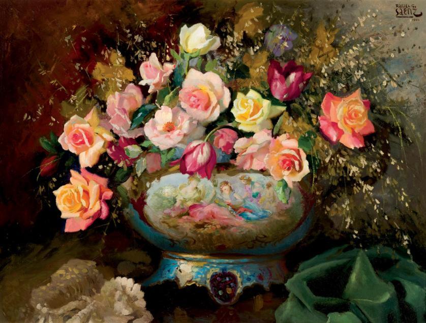 Rafael González Sáenz. Bodegón de rosas