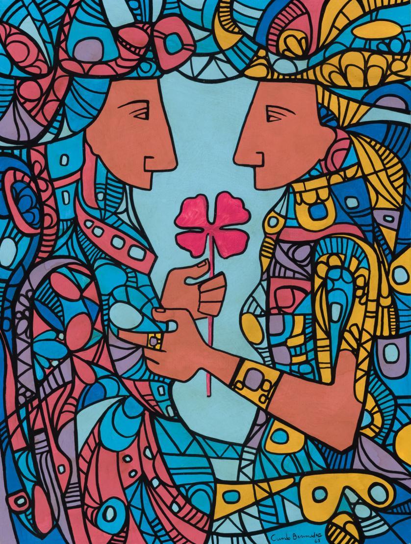 Cundo Bermúdez. Dos figuras con flor