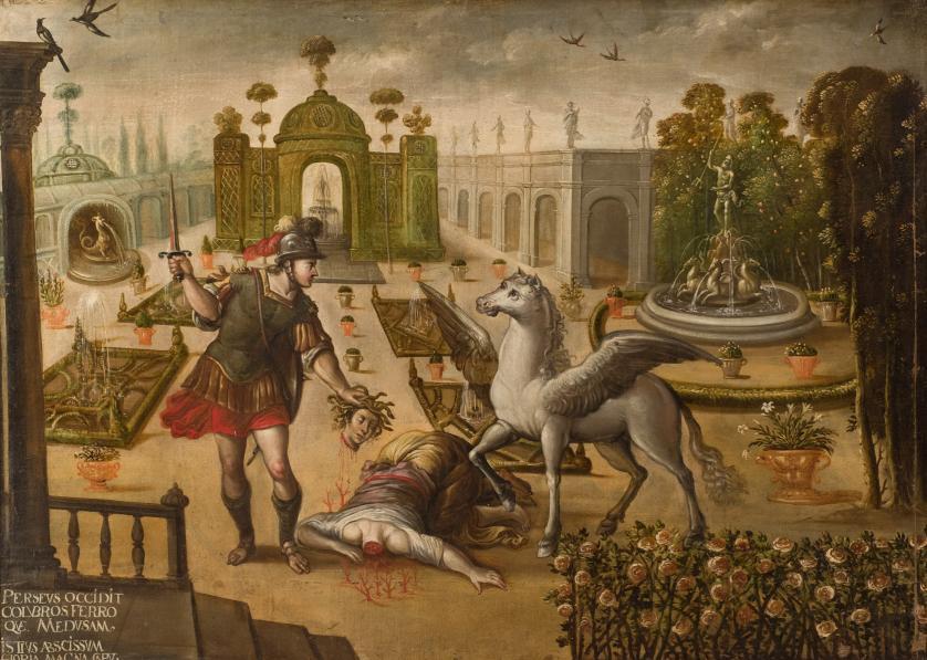 Escuela Sevillana S. XVII. Perseo decapita Medusa